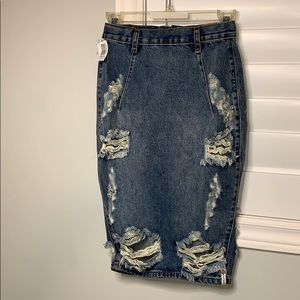 long jean pencil skirt